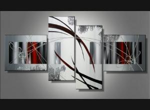 Tableaux abstrait design triptyque eva - Tableau noir et blanc design ...