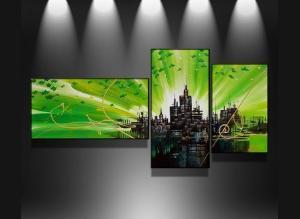 tableaux triptyque vert city abstrait design triptyque eva. Black Bedroom Furniture Sets. Home Design Ideas