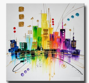Tableaux design peint main abstrait - Tableau colore design ...