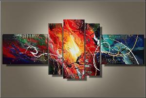 Tableaux multicolore design rouge noir eva - Tableau peinture moderne design ...