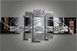 Tableaux abstrait design triptyque eva - Tableau design metal ...