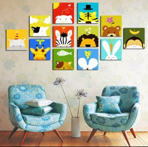 tableau enfant design cartoon animaux. Black Bedroom Furniture Sets. Home Design Ideas