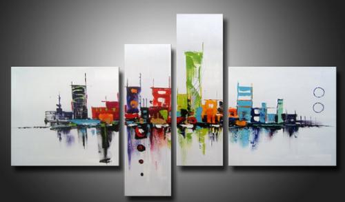 tableau moderne ville colorée buildings