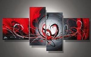 Tableaux design rouge noir fleur abstraite