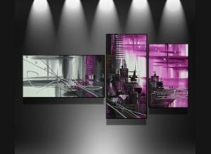 Tableaux fuschia city abstrait design triptyque eva - Toile triptyque design ...