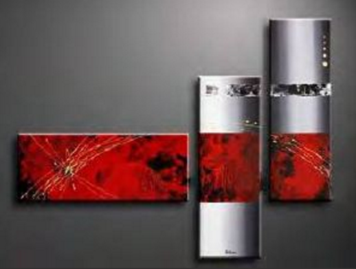 tableau triptyque abstrait rouge 110x70cm. Black Bedroom Furniture Sets. Home Design Ideas