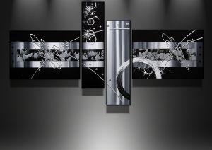 Tableaux abstrait design triptyque eva for Tableau moderne noir et blanc