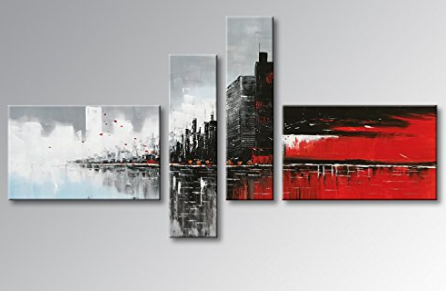 Tableaux design city rouge noir