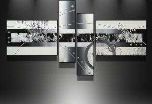 tableaux design abstrait en 4 toiles moderne tableau londres noir et blanc