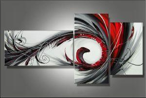 Tableaux abstrait design triptyque eva for Peinture gris rouge