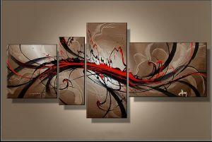 Tableaux abstrait design triptyque eva for Peinture chambre rouge et beige