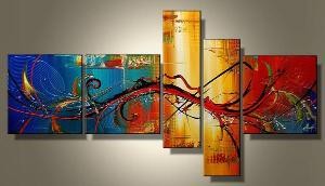 Tableaux design abstrait en 5 toiles moderne - Tableau design colore ...