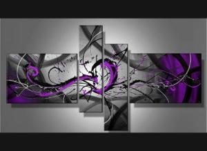 Tableaux abstrait violet design triptyque eva - Accrocher toile au mur ...