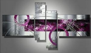 Tableaux design abstrait en 4 toiles moderne - Tableau couleur prune ...