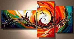 tableau triptyque orang so colors - Tableaux Abstraits Colors