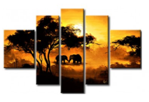 Tableaux modernes Elephants Savane