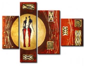 Tableau couple ethnique design eva jekins - Tableau ethnique contemporain ...