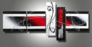 Tableaux abstrait design triptyque eva for Tableau noir blanc rouge