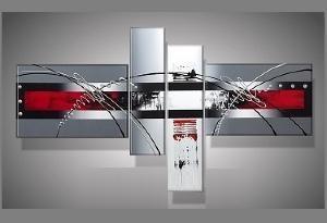 Tableau moderne rouge gris - Tableau rouge noir gris moderne ...