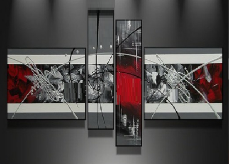 Tableaux design gris rouge metal