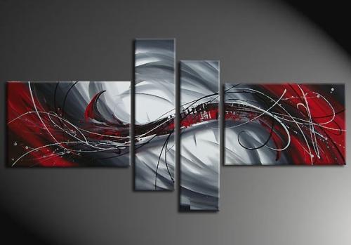 Tableaux Peinture Rouge Gris II