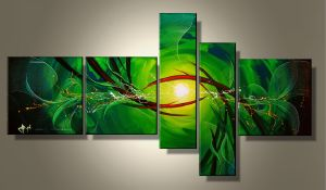 Tableaux design vert Abstrait Green Five