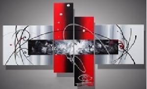 tableau moderne gris et rouge